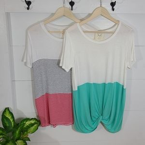 Fantastic Fawn Striped Colorblock Tees Bundle of 2